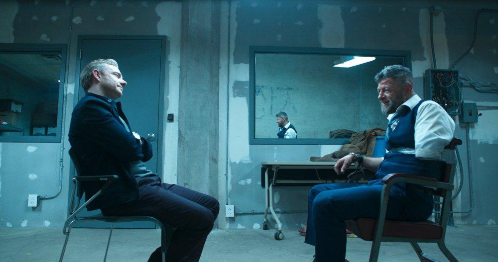 Martin Freeman as Everett K. Ross and Andy Serkis as Ulysses Klaue