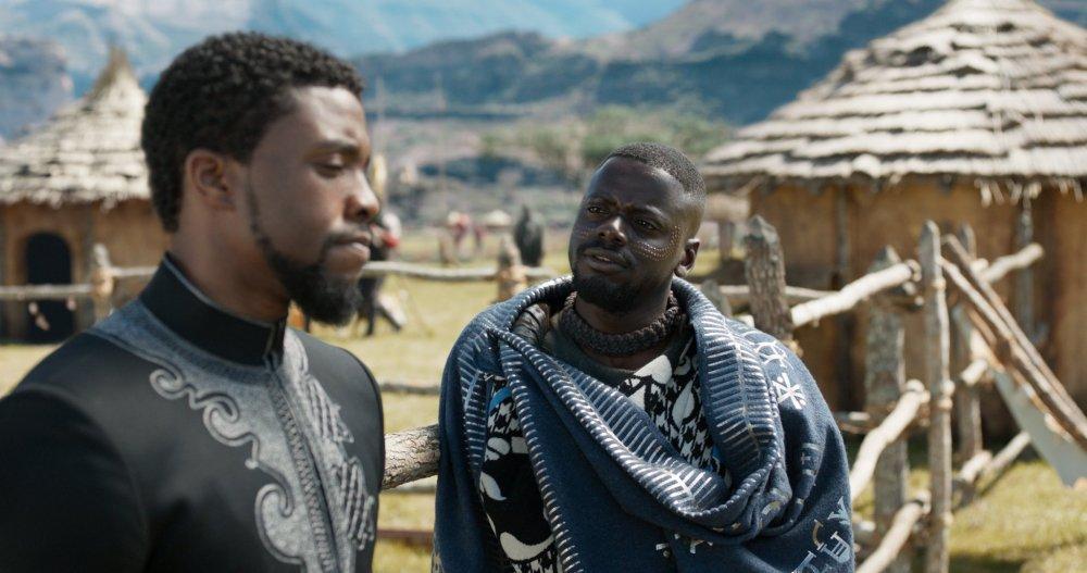 Boseman with Daniel Kaluuya as W'Kabi