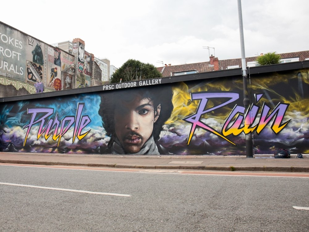 A mural of Prince in Stokes Croft, designed by the artists Paintsmiths of Bristol