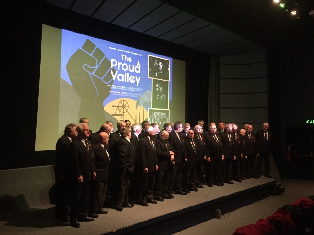 The Treorchy Male Choir at Chapter Cardiff, accompanying a performance of The Proud Valley (1940), starring Paul Robeson