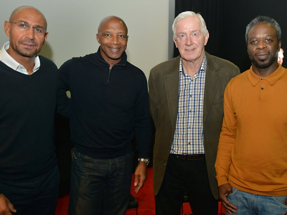 Former West Bromwich Albion players Stewart Phillips, Cyrille Regis and John Wile (with mac Birmingham programmer Ian Sergeant) attend a premiere screening of Whites vs Blacks: How Football Changed a Nation (2016) at mac Birmingham