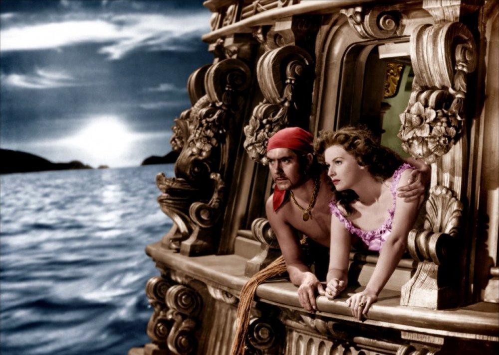 O'Hara as Lady Margaret Denby opposite Tyrone Power in The Black Swan (1942)