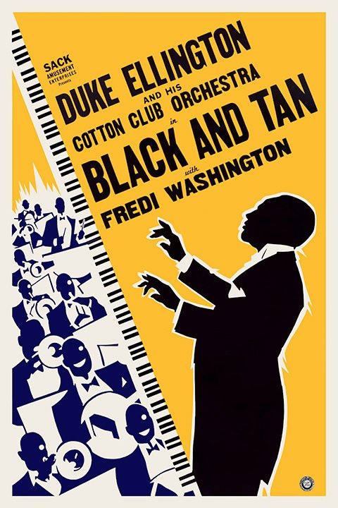 An example of a beautiful and cheap-to-produce design (by an unknown artist) for Dudley Murphy's 15 minute short Black and Tan (1929), about Duke Ellington and his Cotton Club Orchestra.