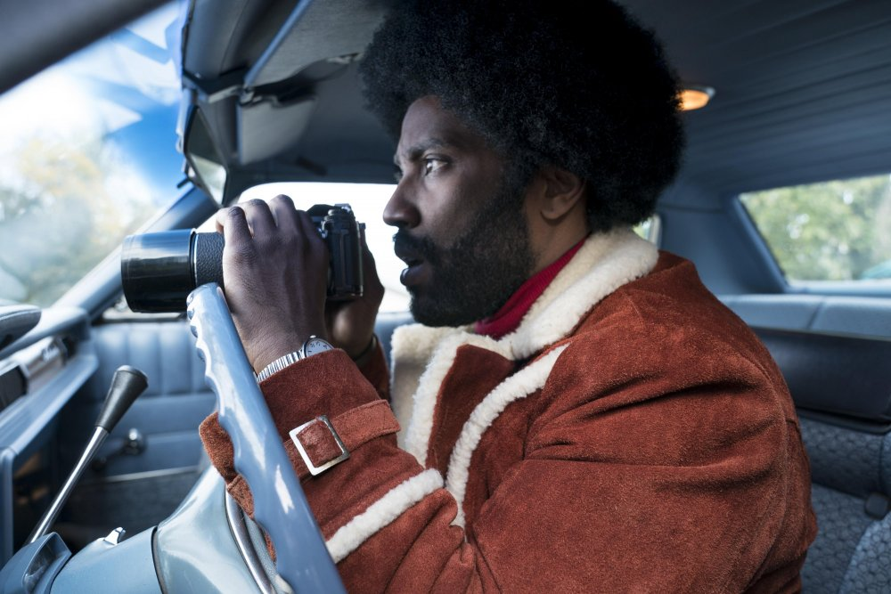 John David Washington as Ron Stallworth in BlacKkKlansman