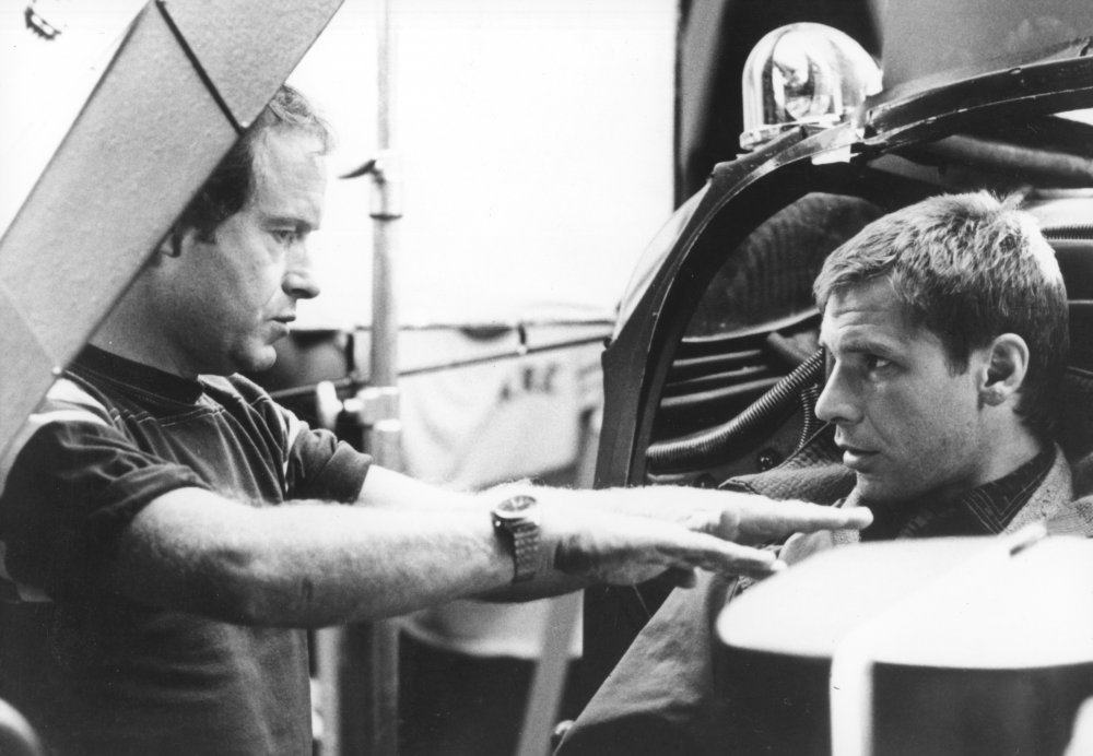 Director Ridley Scott and Harrison Ford on the set of Blade Runner (1982)