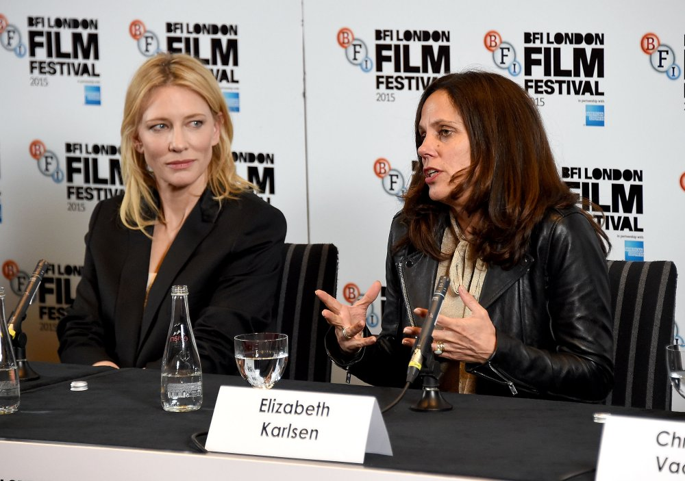 Cate Blanchett and producer Elizabeth Karlsen at the London Film Festival press conference for Carol (2015)