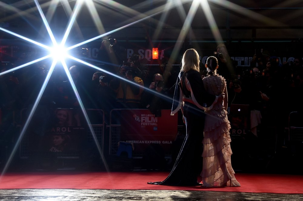 Cate Blanchett and Rooney Mara on the red carpet for the London Film Festival premiere of Carol (2015)