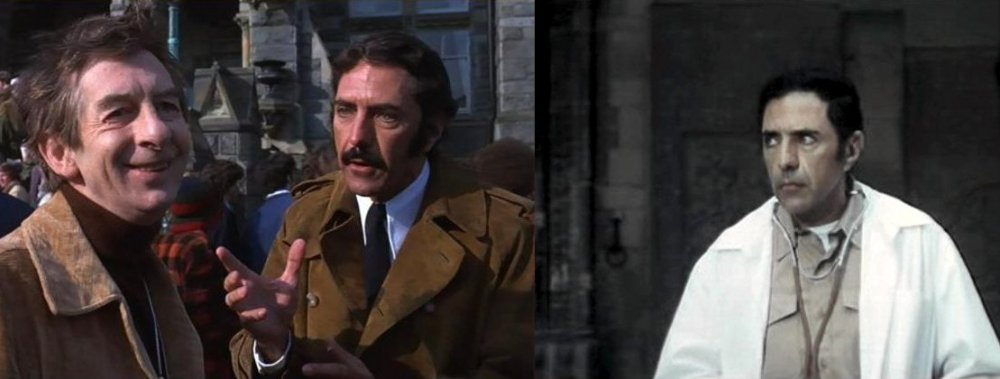 Blatty in a brief cameo as a film producer in The Exorcist (left); right, as Captain Fromme in The Ninth Configuration