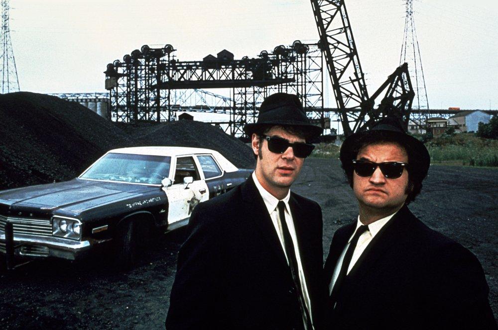 Elwood Blues (Dan Aykroyd) and Jake Blues (John Belushi) in The Blues Brothers (1980)