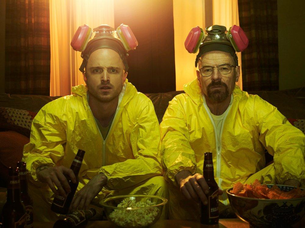 Aaron Paul as Jesse Pinkman and Bryan Cranston as Walter White in Breaking Bad
