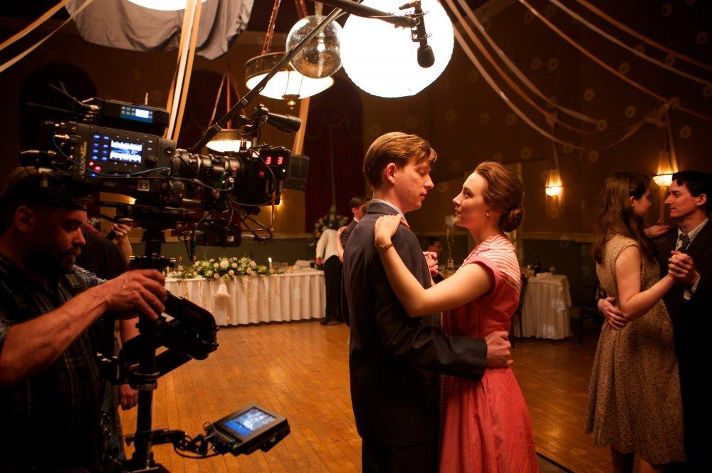 Domhnall Gleeson and Saoirse Ronan on the set of Brooklyn