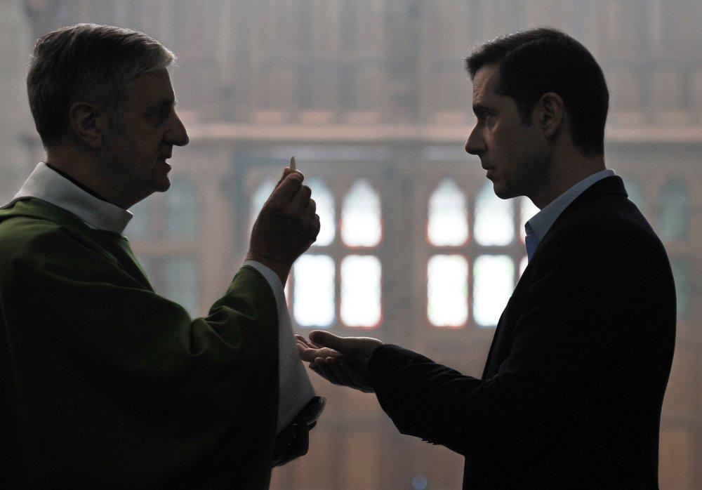 Melvil Poupaud as Alexandre (right) in By the Grace of God (Grâce à Dieu)