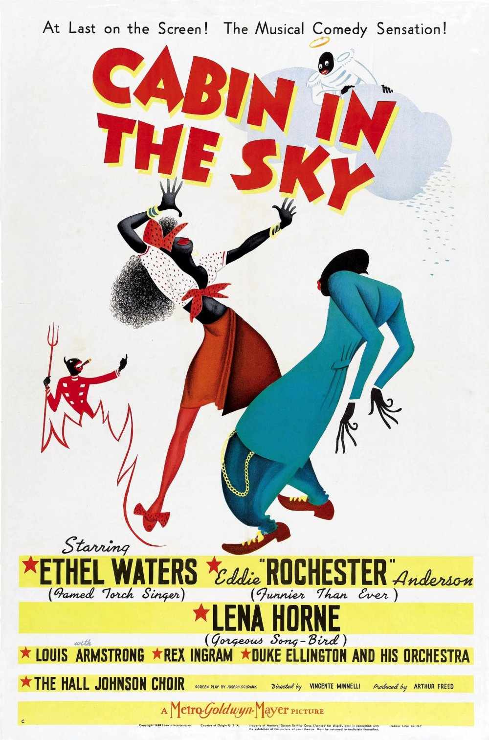 Al Hirschfeld's exuberant design for the American release of Vincente Minelli's Cabin in the Sky (1943).