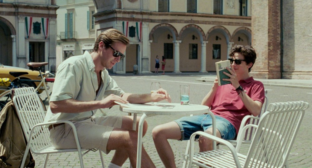 Armie Hammer as Oliver and Timothee Chalamet as Elio Perlman in Luca Guadagnino's Call Me by Your Name