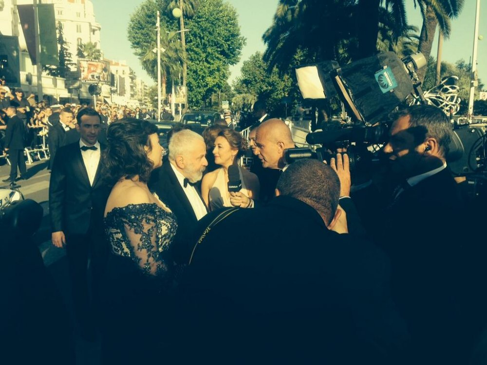 Mike Leigh arrives at the premiere of Mr. Turner at the 2014 Cannes Film Festival