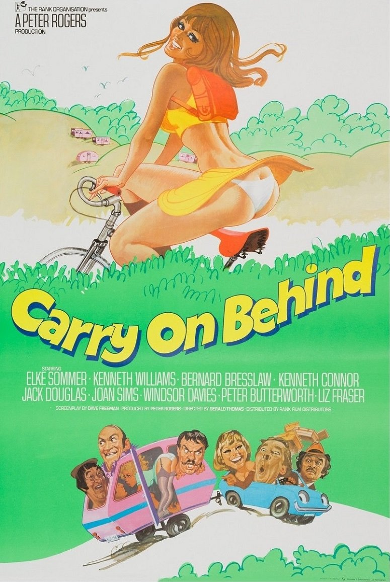 <strong>Carry On Behind (1975)</strong>. Illustration by Arnaldo Putzu from a design by Vic Fair. By this point the series was losing its way, following the departure of both Sid James and (even more critically) long-term writer Talbot 'Tolly' Rothwell. Vic Fair's eye-catching but atypical design reflects this increasing uncertainty by focusing on an anonymous arse, with the regulars (or at least those still left) relegated to a virtual afterthought below the title