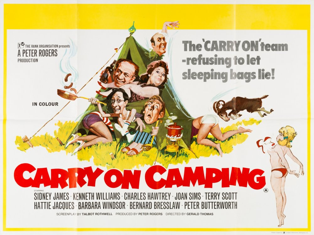 <strong>Carry On Camping (1969)</strong>. Illustration by Renato Fratini from a design by Eric Pulford. A notable box-office smash, as punters queued around the block to see Barbara Windsor's bra fly off. Italian artist Renato Fratini was famous for working fast, and could typically bash this sort of assignment out in just a day or two. The Carry Ons were top-paying commissions, though Fratini privately disliked doing them, finding the repetitive caricatures a bore – but he never complained as the money was so good
