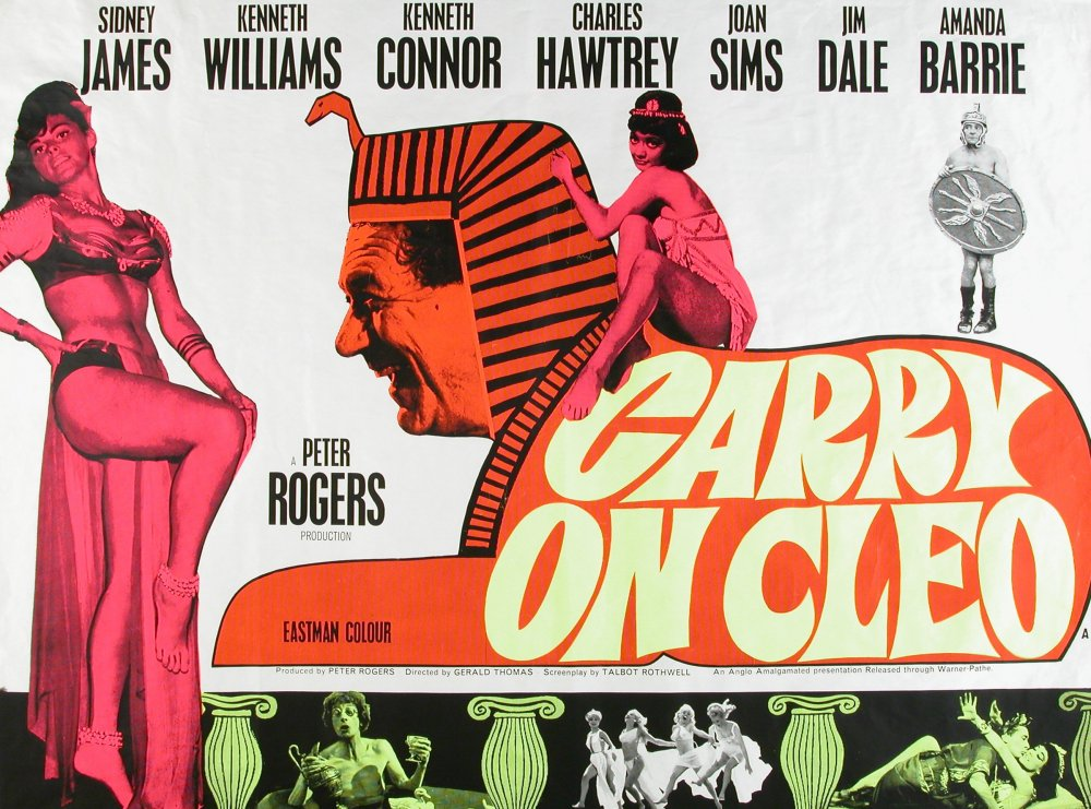 <strong>Carry On Cleo (1964)</strong>. Designed by Ray Youngs. An infamous last-minute replacement for a controversial banned original. Tom Chantrell's first (painted) design was taken to court by 20th Century Fox for copyright infringement, as it deliberately spoofed their earlier epic Richard Burton/Elizabeth Taylor version (which had just bombed at the box-office). This hasty replacement was thrown together literally overnight by Chantrell's assistant Ray Youngs, and casually dubbed 'Sid the Sphinx' in the office to differentiate it