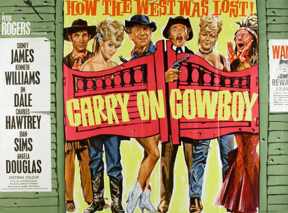 <strong>Carry On Cowboy (1965)</strong>. Design and illustration by Tom Chantrell. 'I tried to make peace with the Sioux once – couldn't trust 'em. One minute it was peace on, the next, peace off.' Several of the earlier Carry Ons had two different designs created, one for the London cinemas, and one (generally less sophisticated) for the provincial (ABC) circuit-release. This is Cowboy's ABC design, and follows a well-worn formula: 'Ere, look Doris – the legs and bodies DON'T MATCH! Ha ha ha ha ha!
