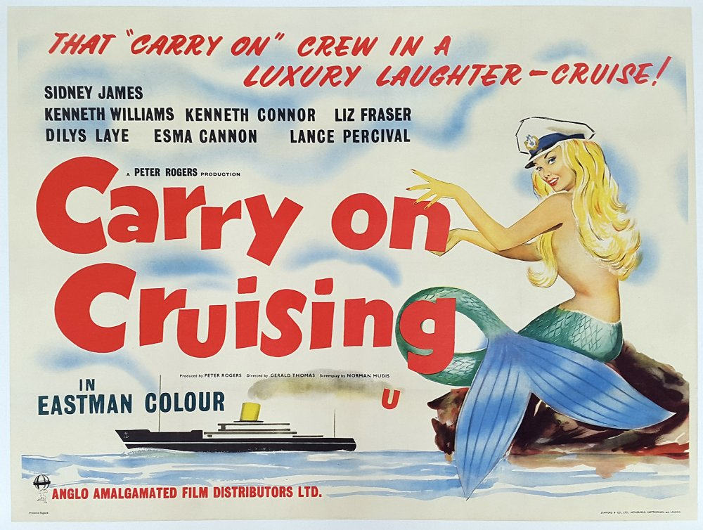<strong>Carry On Cruising (1962)</strong>. Design by Eric Pulford. The last of the films to be scripted by Norman Hudis, with a palpable feel of the initial formula running out of steam. The poster is a fascinating mystery, suggesting last-minute indecision. The complete absence of star portraits is unprecedented (and quite unique), as is the format used. This is in fact a bewilderingly late example of a veteran (pre-war) printing technique known as 'hand-drawn litho' in which a copy of the artist's original design has been sketched directly onto the printing plates.  This is probably the last major British film poster to utilise the technique, and we can only speculate as to why it was suddenly trotted out of retirement