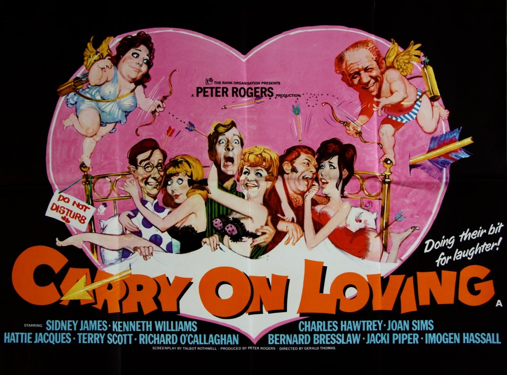 <strong>Carry On Loving (1970)</strong>. Illustration by Renato Fratini from a design by Vic Fair. One of the best Carry On posters – the depiction of Sid and Hattie as cherubs is inspired – for one of the series' weakest scripts, with a marked paucity of decent gags and distinctly unappetising new crudity (though Richard O'Callaghan's milk-bottle-top aircraft are delightful). Regardless of the dubious source material, everything about this image works, and clearly demonstrates just why Vic Fair was easily the finest poster designer of his generation