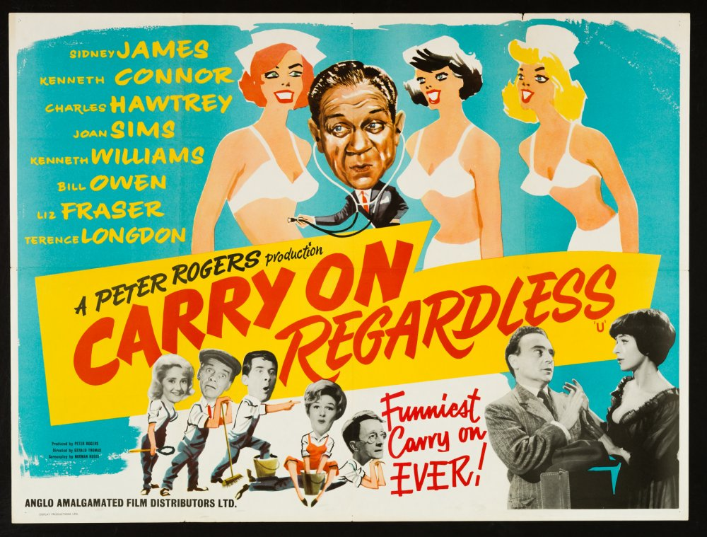 <strong>Carry On Regardless (1961)</strong>. Design and illustration by Eric Pulford. An oddball sketch from the early era, with a brightly jolly illustration neatly demonstrating Pulford's sharp colour sense and skill at economically painted glamour (though the Sid James portrait is a bit iffy to say the least). A very 1950s design, which even at the time of its appearance would have looked slightly retro. The 1960s hadn't quite happened yet…