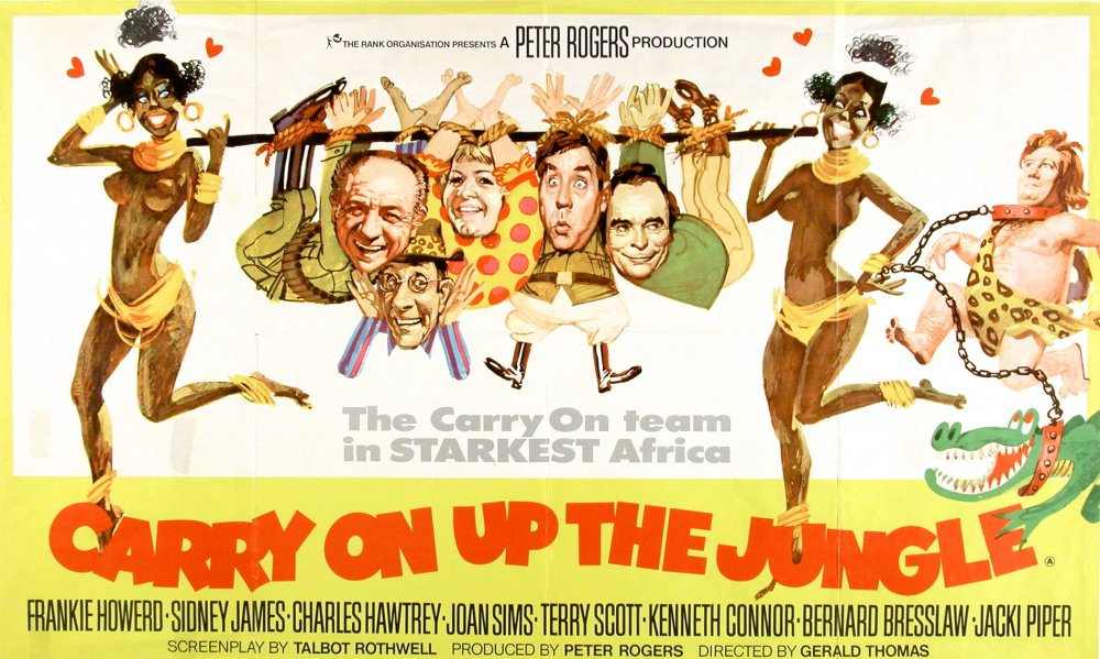 <strong>Carry On Up the Jungle (1970)</strong>. Illustration by Renato Fratini from a design by Eric Pulford. A poster that is, ahem, very much of its time. But even at the time (March 1970) there were clearly concerns about its wide suitability. In addition to the British 'quad' layout seen here, distributor Rank also produced 'international one-sheets' for overseas sales – these typically featured the same artwork squeezed into a portrait format. But the Up the Jungle one-sheets uniquely replace the topless black tribeswomen with bikinied white Amazons, clearly indicating Rank were fully aware this image would not play well