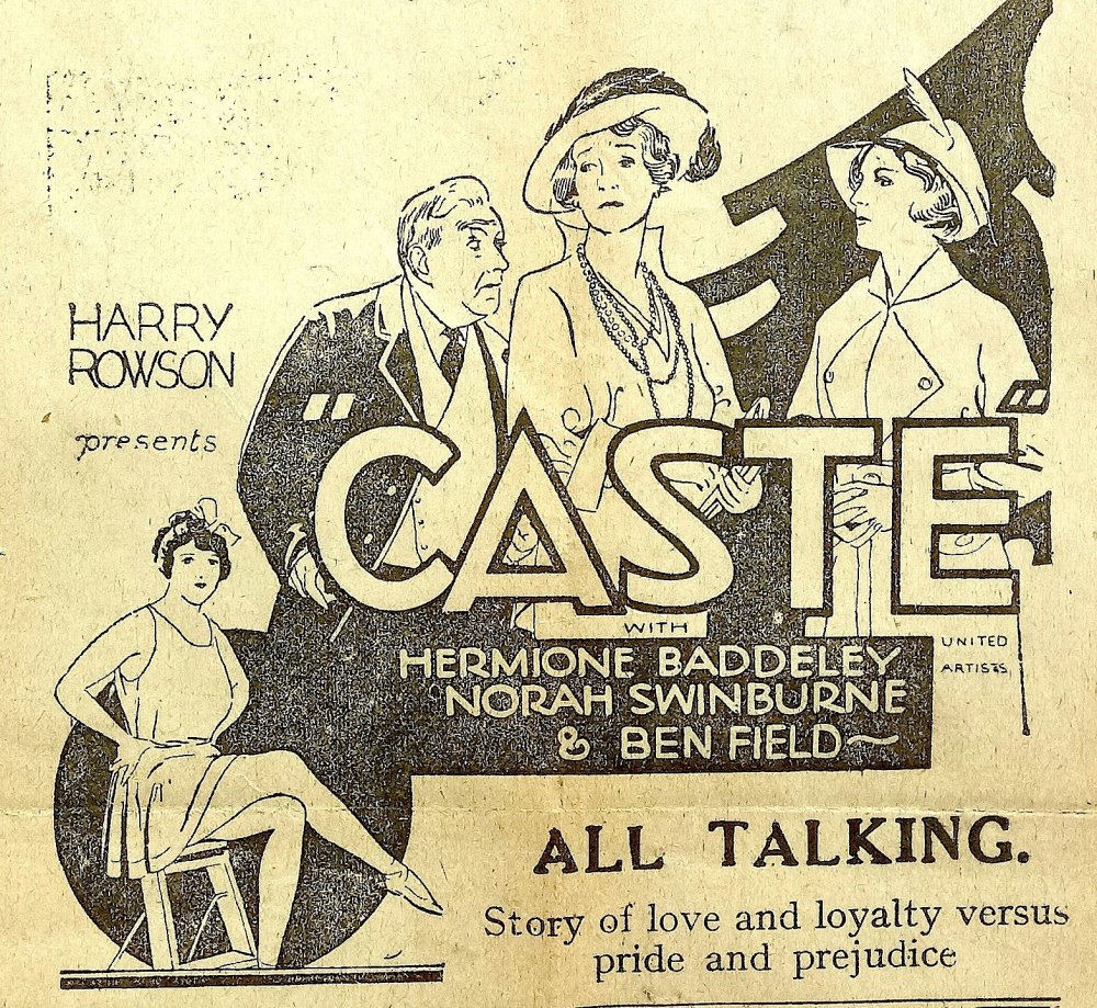 A flyer for Michael Powell's Caste (1930), when it was on release in Sunderland