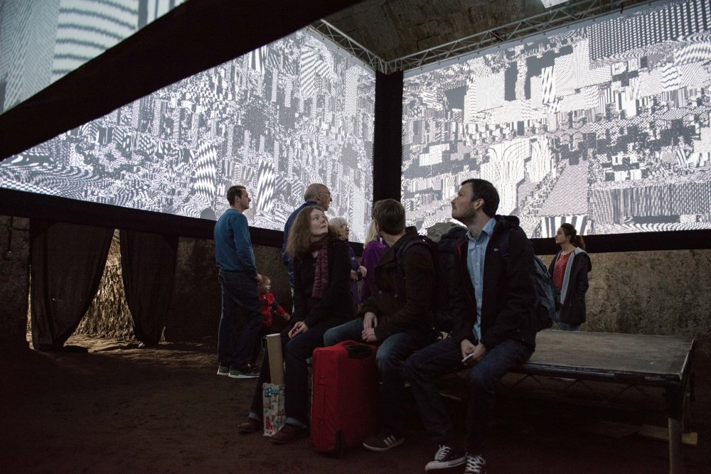 Peter Burr's Cave Exits installation at Bankhill Ice House