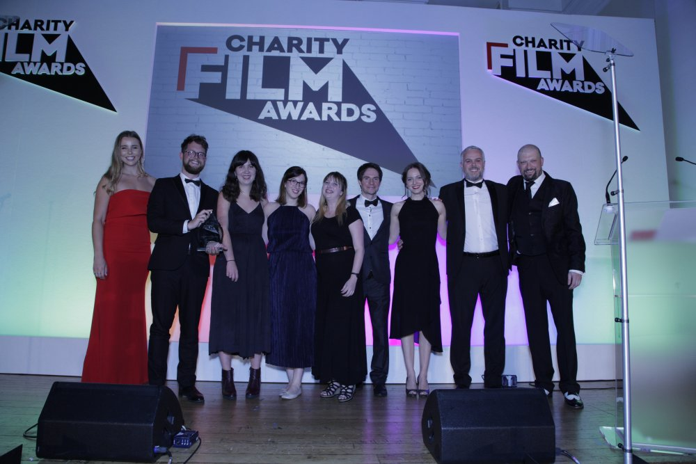 The National Autistic Society on stage at the 2018 Charity Film Awards for their award-winning film Make It Stop