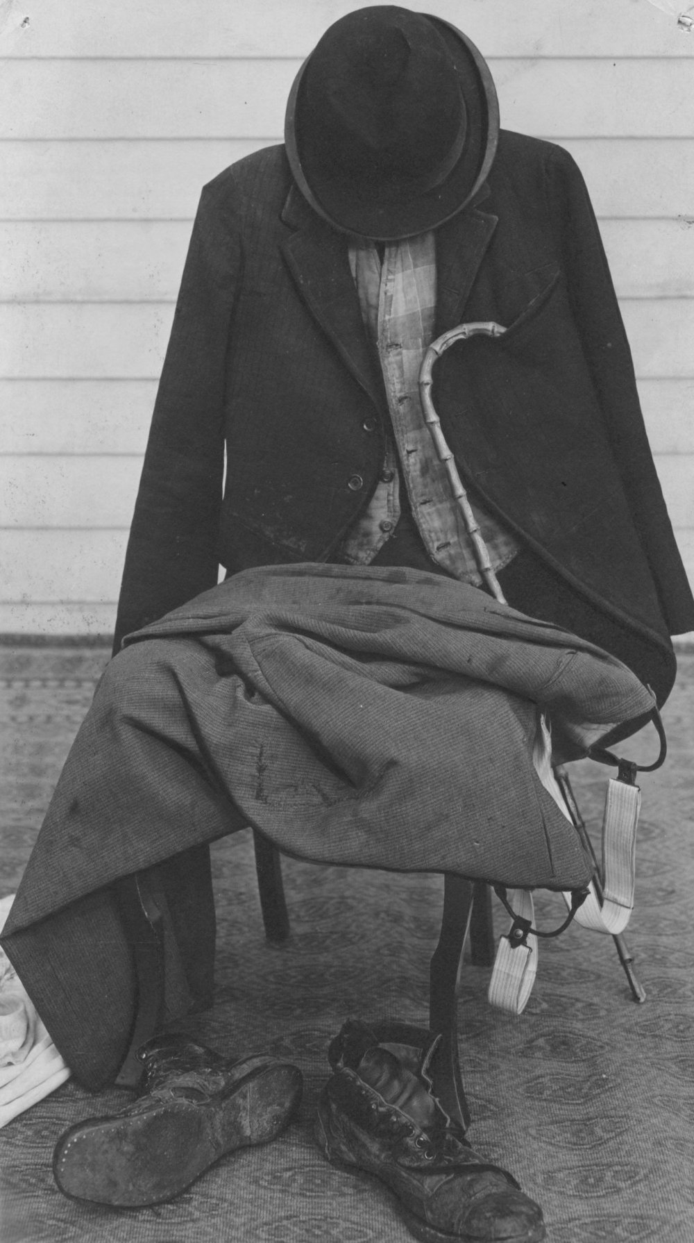 The Tramp costume laid out across a chair, date and photographer unknown