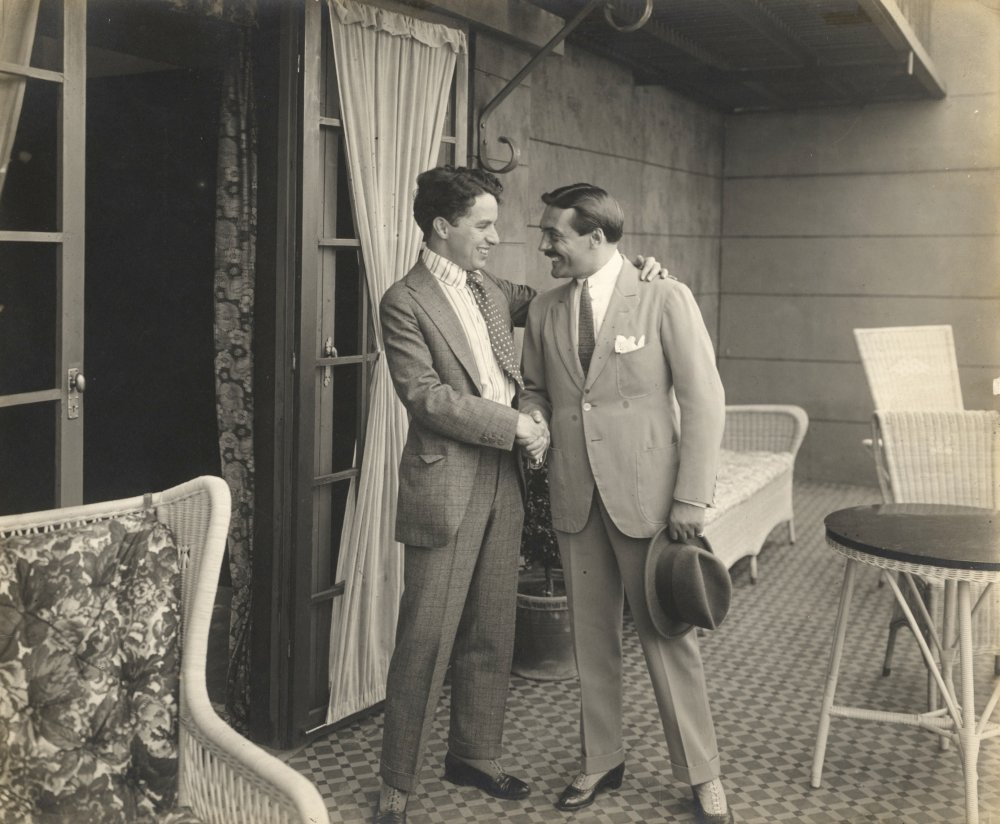 Chaplin and Max Linder meeting for the first time, photographic print, c.1917, photographer unknown