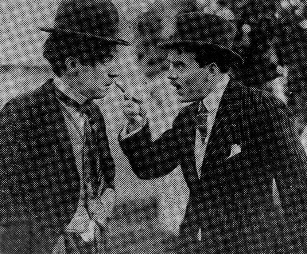 Chaplin and Max Linder on set together, film still on paper, c.1917, photographer unknown