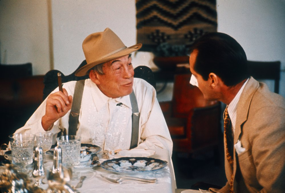 John Huston playing Noah Cross opposite Jack Nicholson in Chinatown (1974)