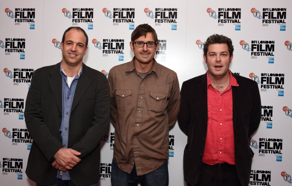 Producer Simon Chinn, presenter Louis Theroux and director John Dower at the London Film Festival premiere of My Scientology Movie (2015)
