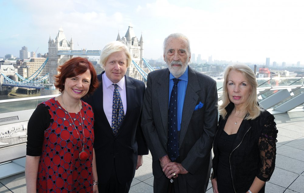 Sir Christopher Lee with (left to right) Clare Stewart, Boris Johnson and Amanda Nevill