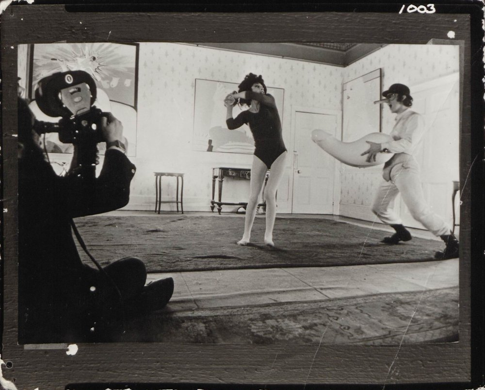 Stanley Kubrick filming a scene for A Clockwork Orange (1971) with Miriam Karlin and Malcolm McDowell at Shenley Lodge (now Manor Lodge School), Hertfordshire.