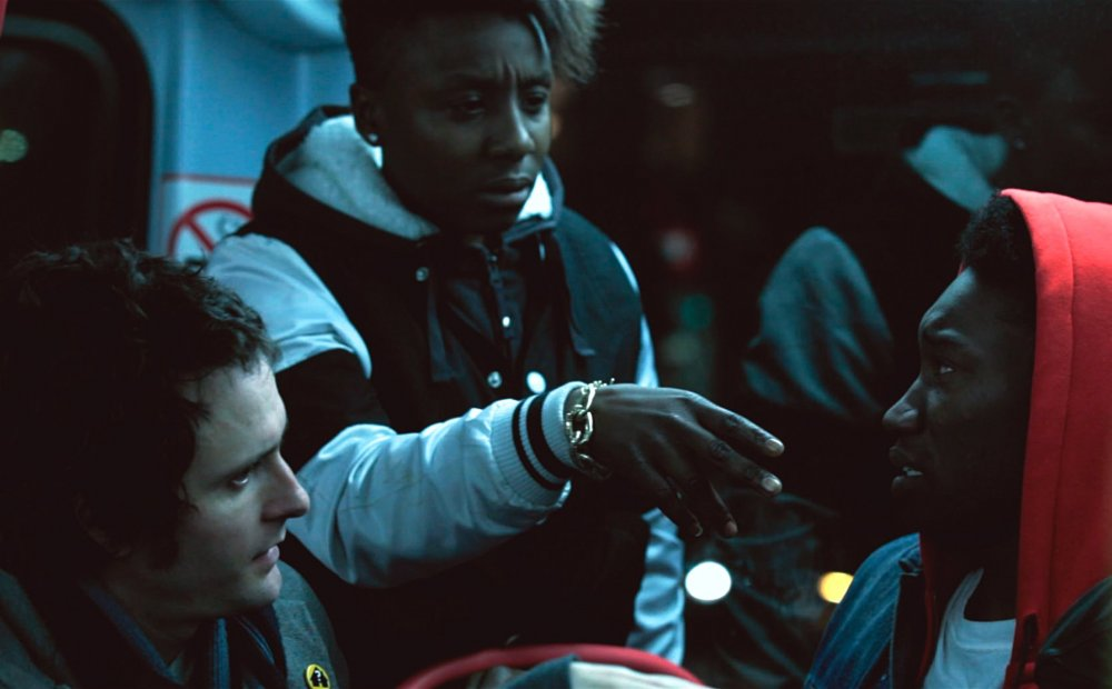 Ed and Nathan (Nathan Stewart-Harett) run into homphobic trouble on the night bus