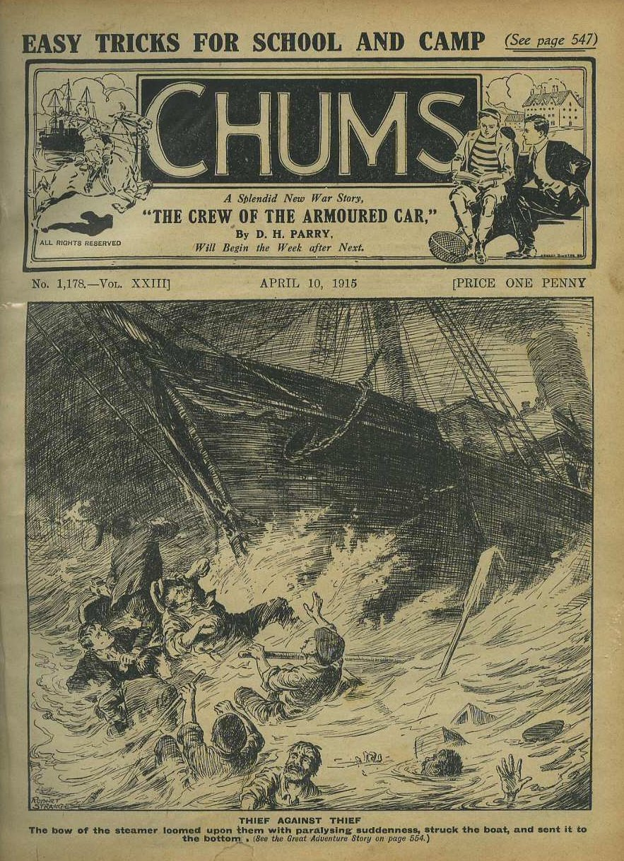 Near contemporary cover of 'Chums' paper for boys 1915