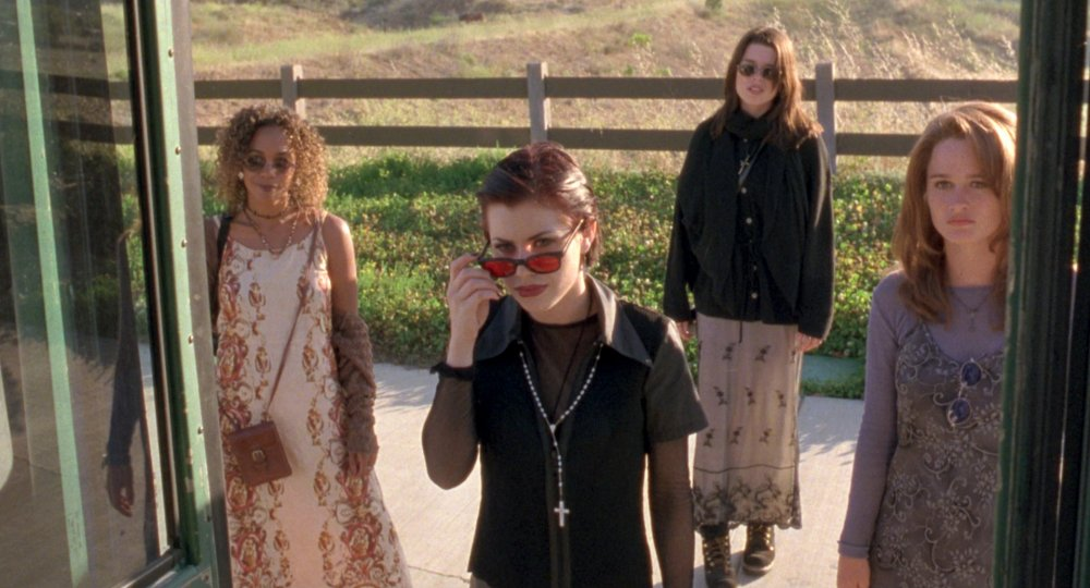 Fairuza Balk, foreground, in The Craft (1996) – and narrator of Beyond Clueless, in which The Craft is critiqued (2014)