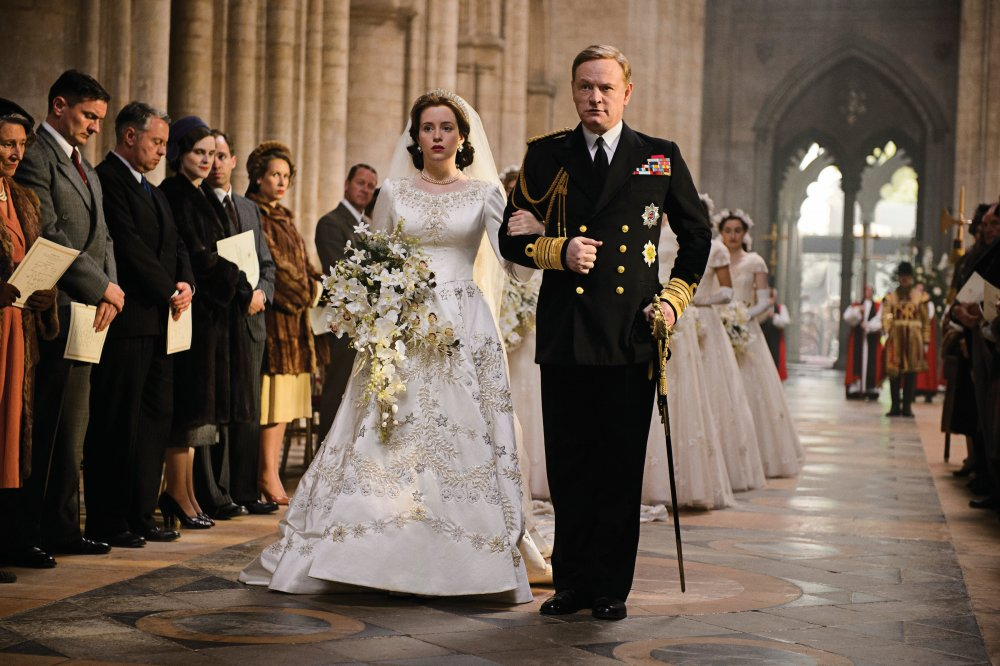Foy with Jared Harris as George VI