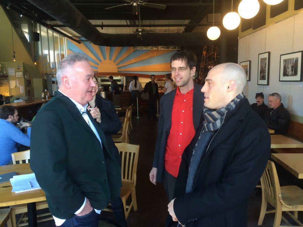 Adam Curtis and Joshua Oppenheimer meeting at the 2015 True/False Film Festival