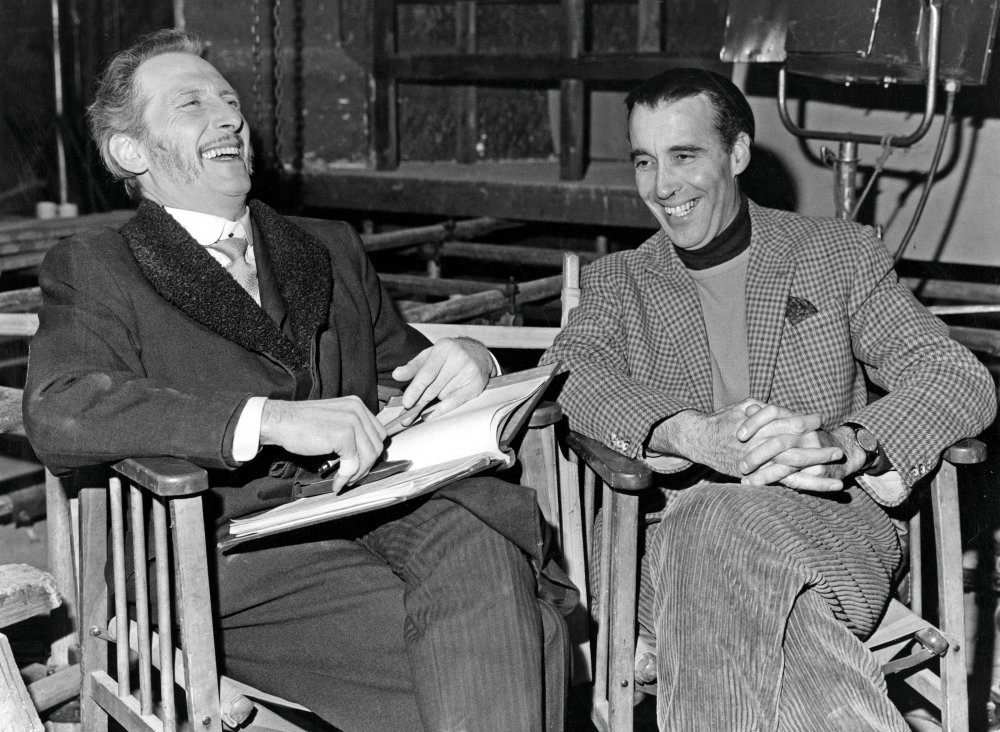Peter Cushing and Christopher Lee filming The Gorgon (1964)