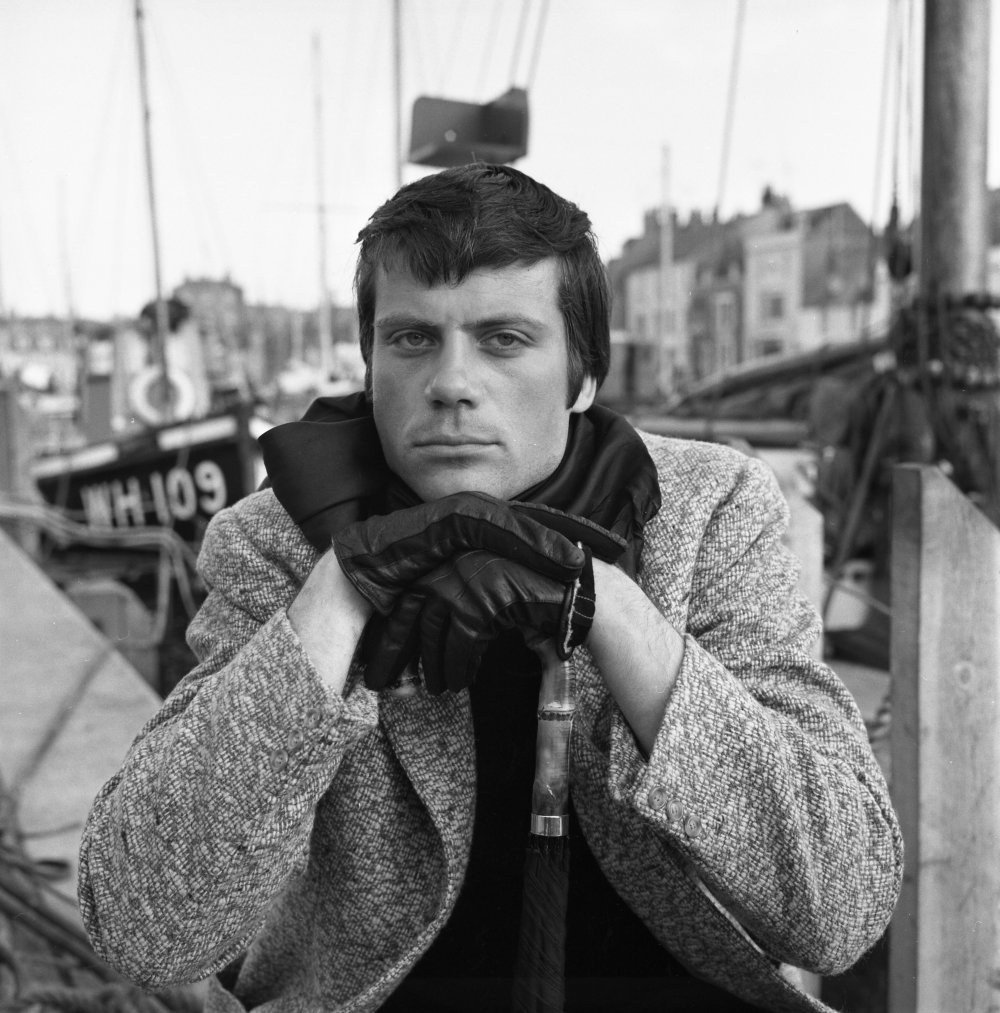 Oliver Reed on location in Weymouth, Dorset for Joseph Losey's edgy sci-fi delinquent drama The Damned (1961)