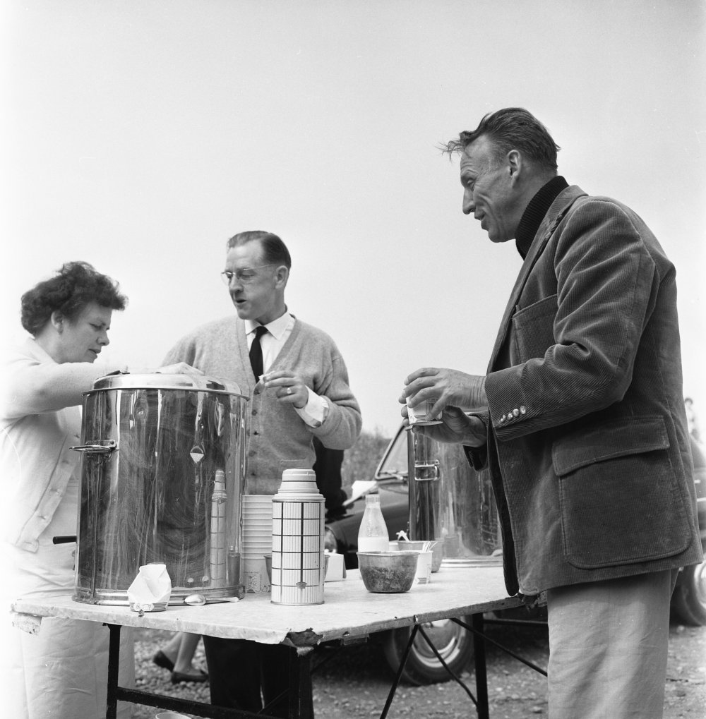 Losey helps himself to a hot drink from the location caterers