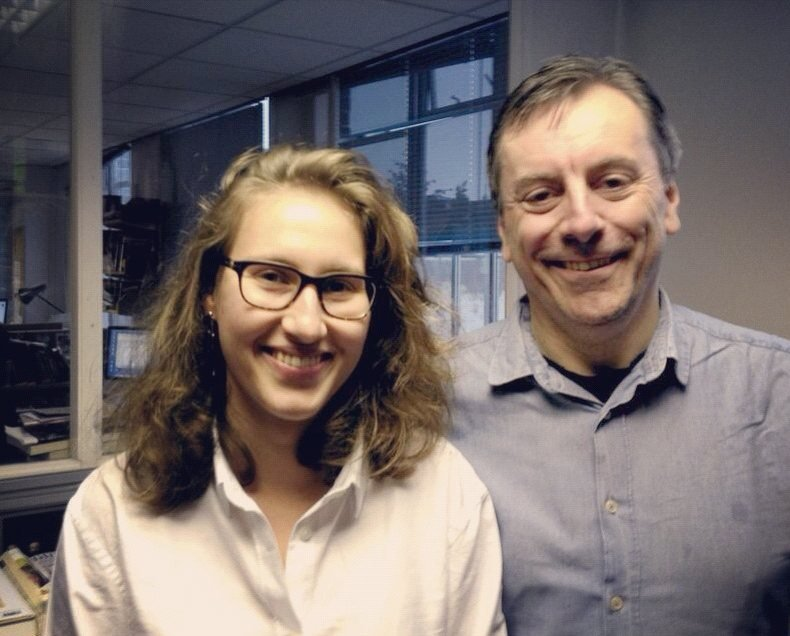 Dasha Lisitsina, the winner of our Young Journalist Competition in the 19-22 category, with our editor Nick James.