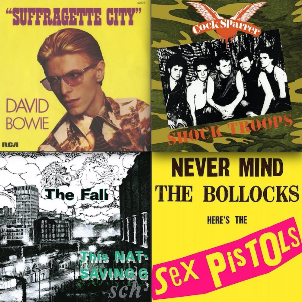 All the young droogs: 'Suffragette City' by David Bowie; Shock Troops by Cock Sparrer, featuring the song 'Droogs Don't Run'; This Nation's Saving Grace by The Fall; Never Mind the Bollocks by the Sex Pistols