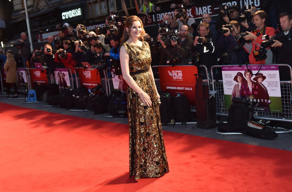 Geena Davis attending the London Film Festival opening night premiere of Suffragette (2015)