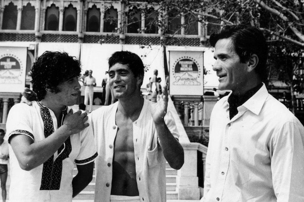 Ninetto Davoli, Franco Citti and Pier Paolo Pasolini at the Venice Film Festival