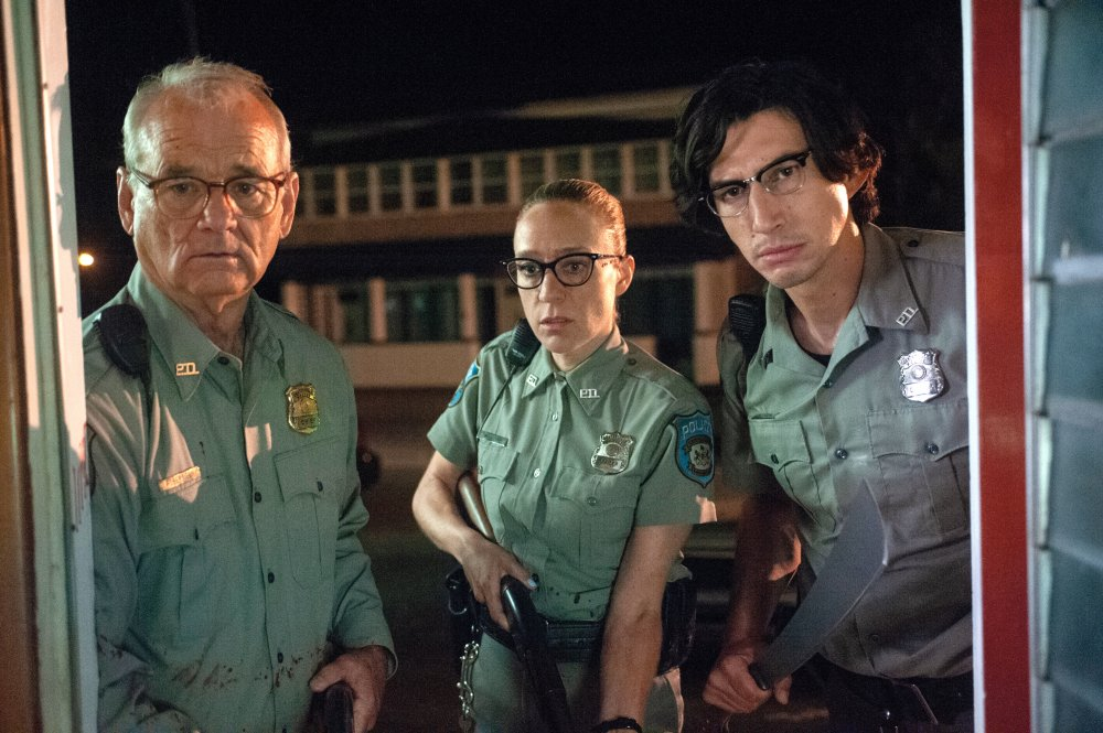 Bill Murray as Chief Cliff Robertson, Chloë Sevigny as Officer Minerva Morrison and Adam Driver as Office Ronald Peterson in The Dead Don't Die